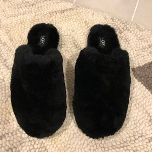 UGG Black Shearling Slippers